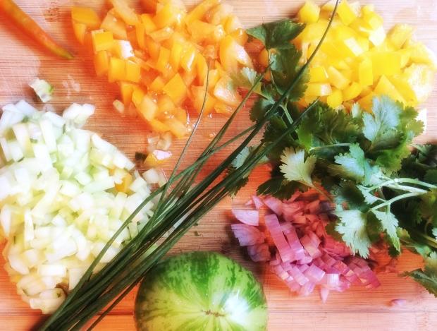 légumes pour la salade de quinoa